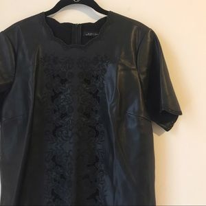 Zara Black Faux Leather Embroidered Shift Dress